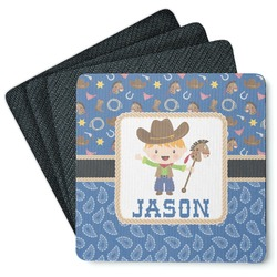 Blue Western 4 Square Coasters - Rubber Backed (Personalized)