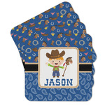 Blue Western Cork Coaster - Set of 4 w/ Name or Text