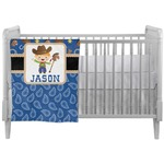 Blue Western Crib Comforter / Quilt (Personalized)