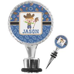 Blue Western Wine Bottle Stopper (Personalized)