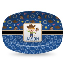 Blue Western Plastic Platter - Microwave & Oven Safe Composite Polymer (Personalized)
