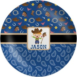 Blue Western Melamine Plate (Personalized)