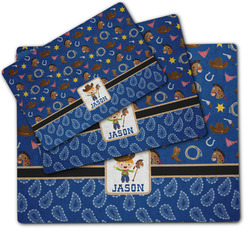 Blue Western Dog Food Mat w/ Name or Text