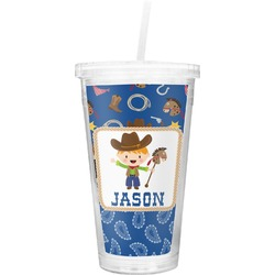 Blue Western Double Wall Tumbler with Straw (Personalized)