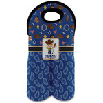 Blue Western Wine Tote Bag (2 Bottles) (Personalized)