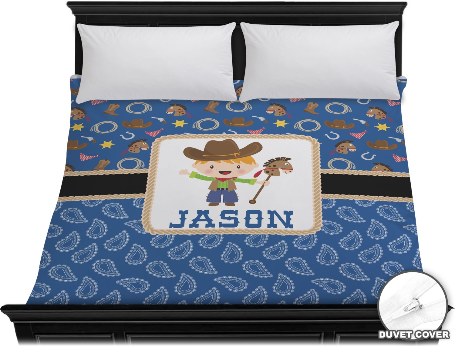 blue western duvet cover king personalized youcustomizeit. Black Bedroom Furniture Sets. Home Design Ideas