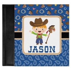 Blue Western Genuine Leather Baby Memory Book (Personalized)