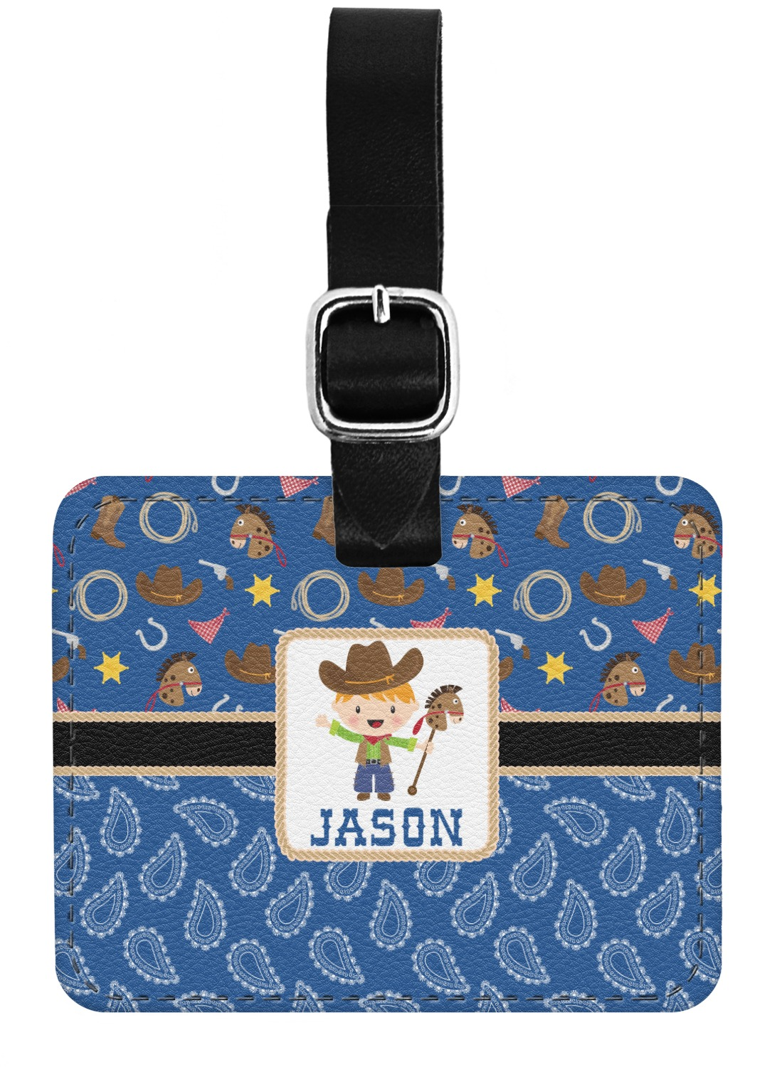 d91e7c32d652 Blue Western Genuine Leather Rectangular Luggage Tag (Personalized)