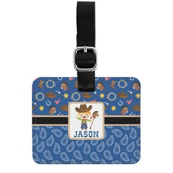 Blue Western Genuine Leather Rectangular  Luggage Tag (Personalized)