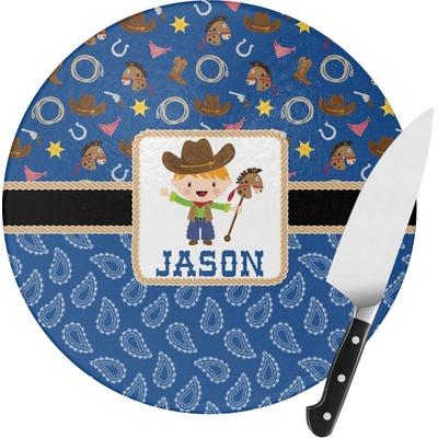 Blue Western Round Glass Cutting Board (Personalized)