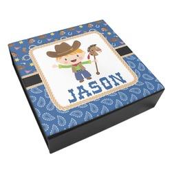 Blue Western Leatherette Keepsake Box - 3 Sizes (Personalized)