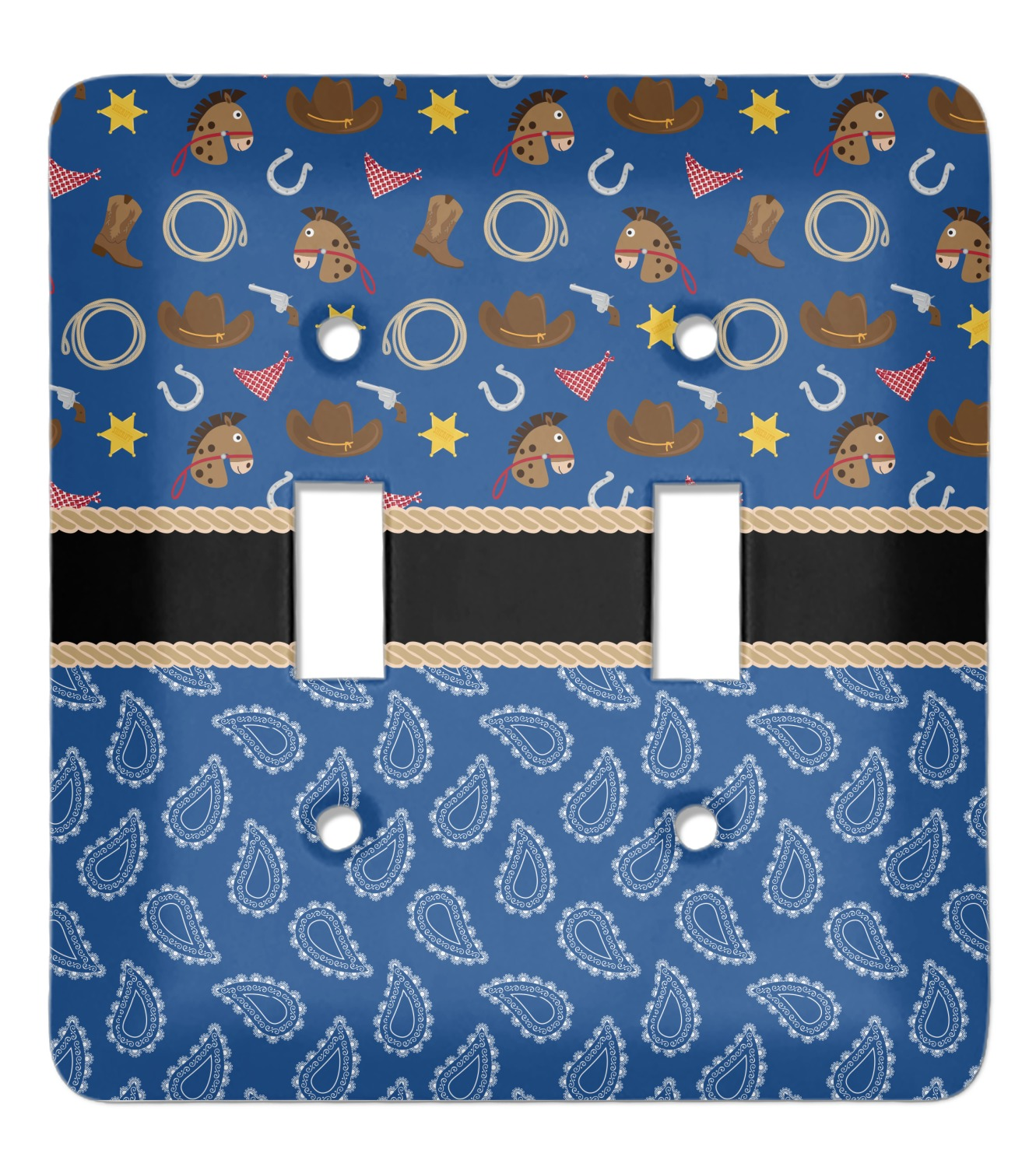 Blue Western Light Switch Cover (2 Toggle Plate