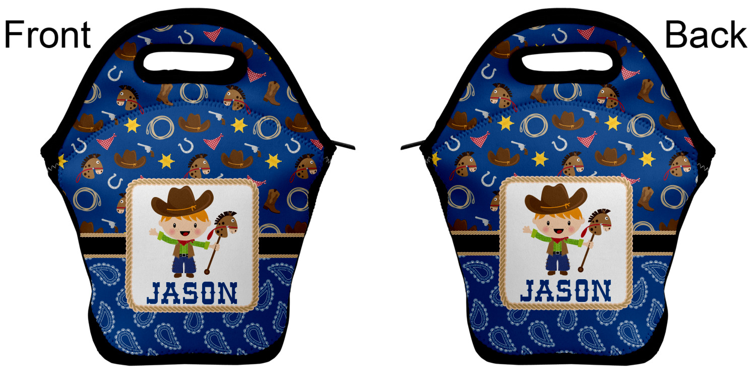 Personalized Front /& Back Blue Western Zippered Everyday Tote