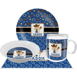 Blue Western Dinner Set - 4 Pc (Personalized)