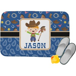 Blue Western Memory Foam Bath Mat (Personalized)