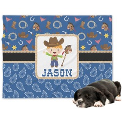 Blue Western Minky Dog Blanket (Personalized)