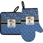 Blue Western Oven Mitt & Pot Holder (Personalized)