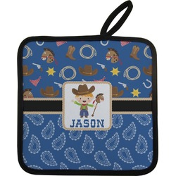 Blue Western Pot Holder (Personalized)