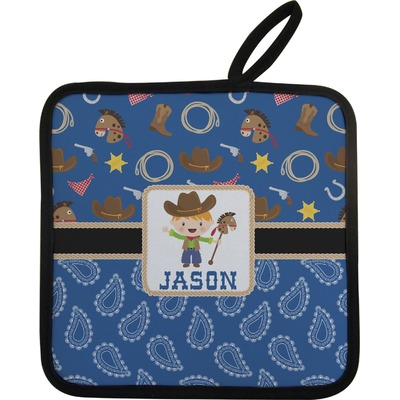 Blue Western Pot Holder w/ Name or Text