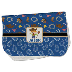 Blue Western Burp Cloth - Fleece w/ Name or Text