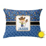 Blue Western Outdoor Throw Pillow (Rectangular) (Personalized)