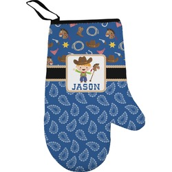 Blue Western Oven Mitt (Personalized)
