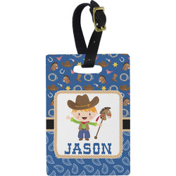 Blue Western Rectangular Luggage Tag (Personalized)