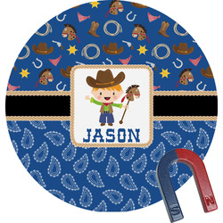 Blue Western Round Magnet (Personalized)