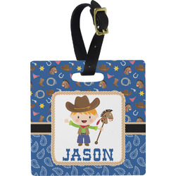 Blue Western Square Luggage Tag (Personalized)