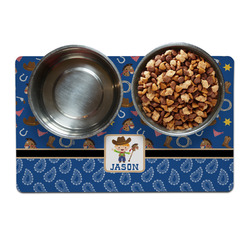 Blue Western Pet Bowl Mat (Personalized)