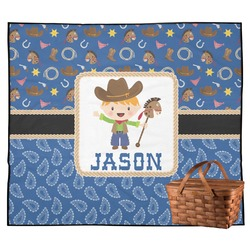 Blue Western Outdoor Picnic Blanket (Personalized)