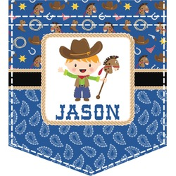 Blue Western Iron On Faux Pocket (Personalized)