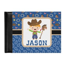 Blue Western Genuine Leather Guest Book (Personalized)