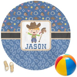 Blue Western Round Beach Towel (Personalized)