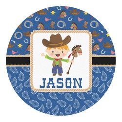 Blue Western Round Decal - Small (Personalized)