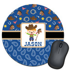 Blue Western Round Mouse Pad (Personalized)