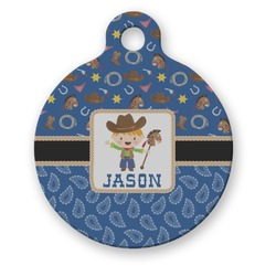 Blue Western Round Pet Tag (Personalized)