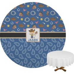 Blue Western Round Tablecloth (Personalized)