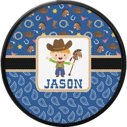 Blue Western Round Trailer Hitch Cover (Personalized)