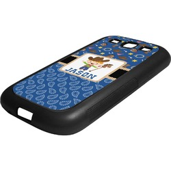 Blue Western Rubber Samsung Galaxy 3 Phone Case (Personalized)