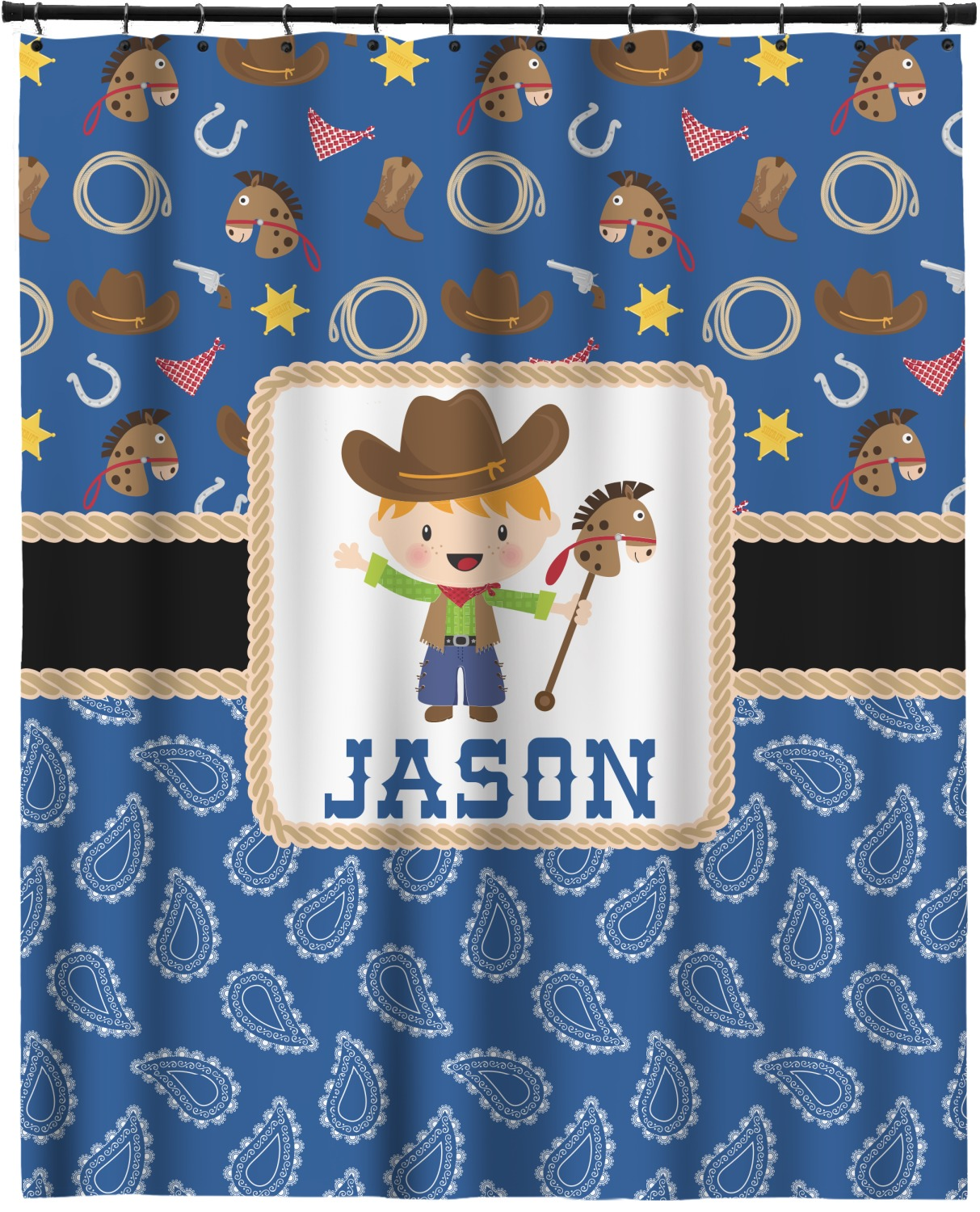 Blue Western Extra Long Shower Curtain 70 X90 Personalized Youcustomizeit