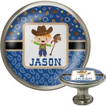 Blue Western Cabinet Knob (Silver) (Personalized)