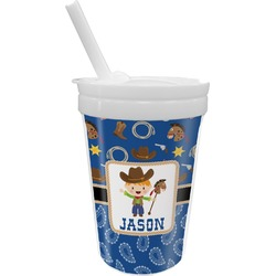 Blue Western Sippy Cup with Straw (Personalized)