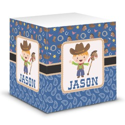 Blue Western Sticky Note Cube (Personalized)