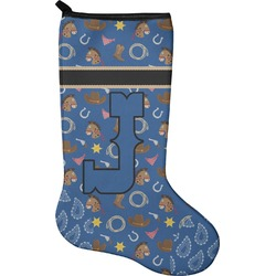 Blue Western Christmas Stocking - Neoprene (Personalized)