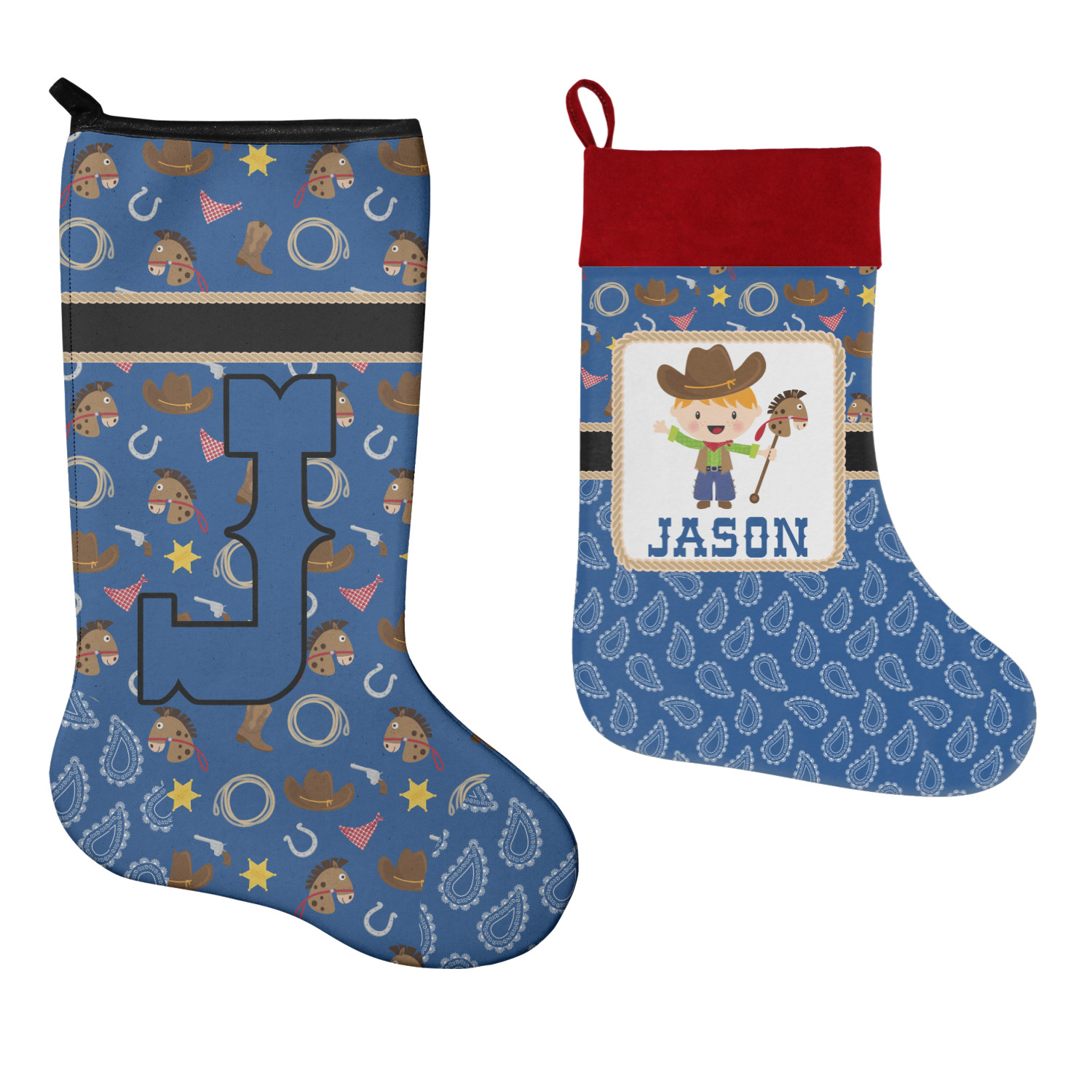 Western Christmas Stockings Personalized.Blue Western Christmas Stocking Personalized