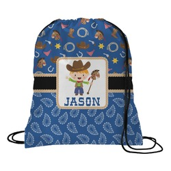 Blue Western Drawstring Backpack (Personalized)