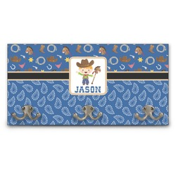 Blue Western Wall Mounted Coat Rack (Personalized)