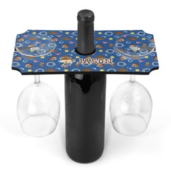 Blue Western Wine Bottle & Glass Holder (Personalized)