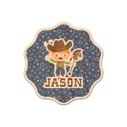 Blue Western Genuine Maple or Cherry Wood Sticker (Personalized)